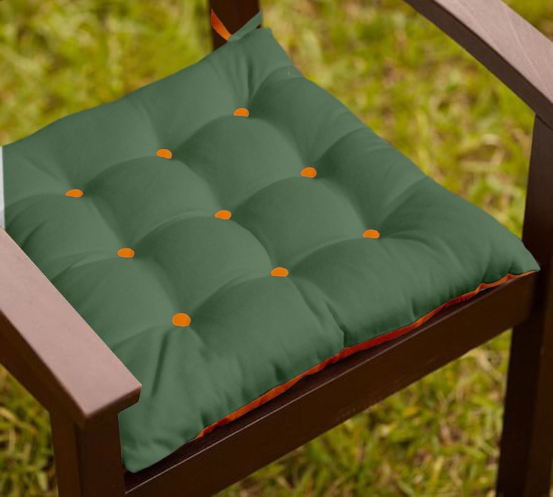 Lushomes Solid Chair Cushion Pack of 1(Vineyard Green and Sun Orange)