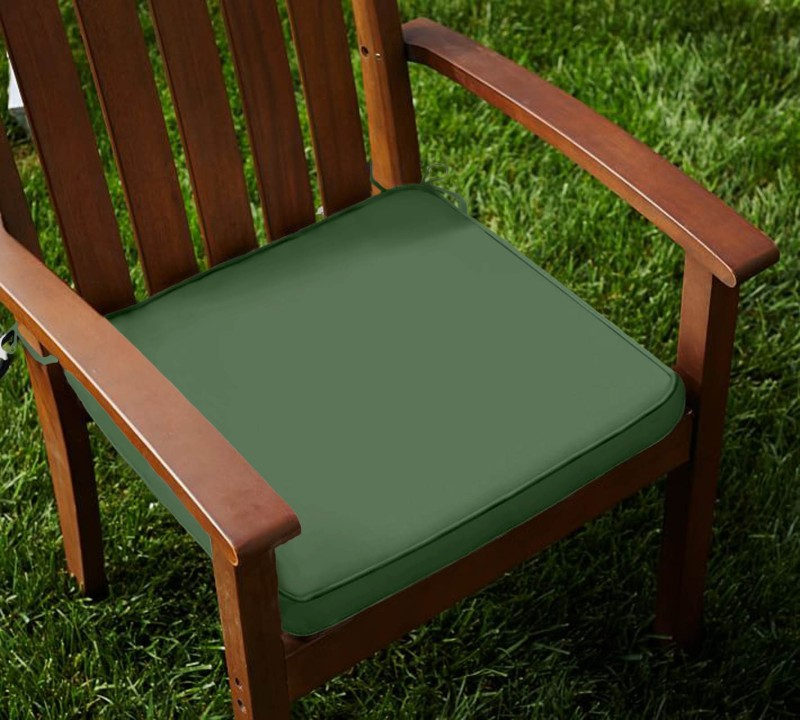 Lushomes Solid Chair Cushion Pack of 2(Vineyard Green)
