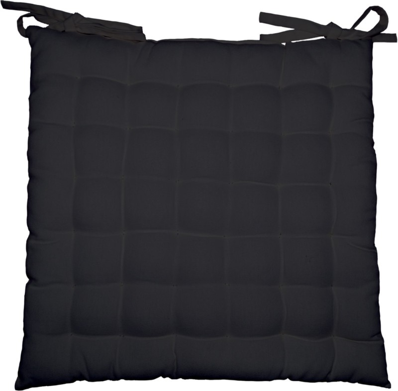 Lushomes Solid Chair Cushion Pack of 1(Pirate Black)