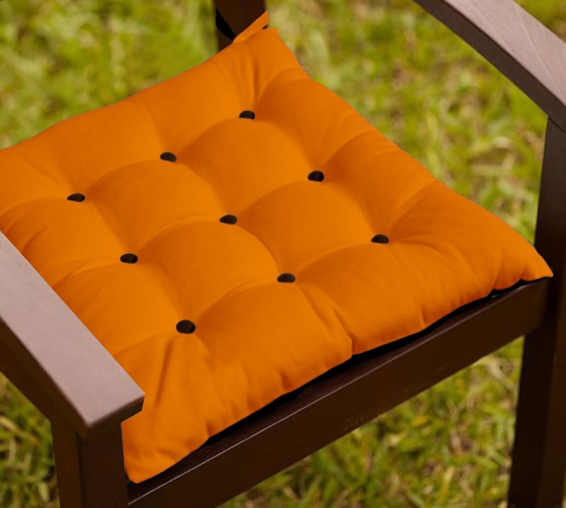 Lushomes Solid Chair Cushion Pack of 1(Sun Orange and French Roast)