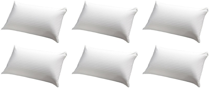 JDX Striped Bed/Sleeping Pillow Pack of 6(White)