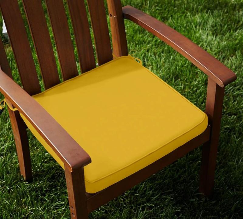 Lushomes Solid Chair Cushion Pack of 2(Lemon Chrome)