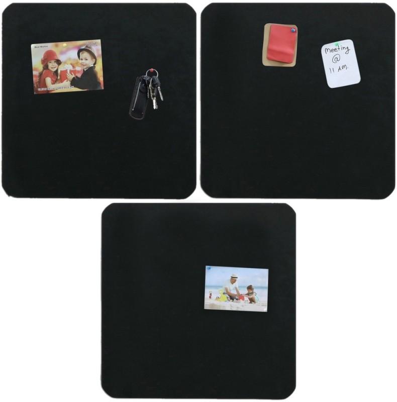 Marine Pearl Sporty 1.5 x 1.5 Ft Pack of 3 Notice Board Pin Board Bulletin Board(Black)