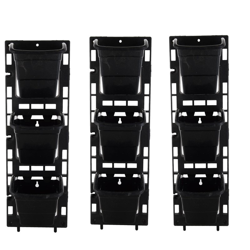 Planters Vertical Garden Panel ( Black 6X18 inches , 3 frame +...