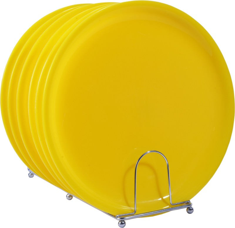 Deseo Round Dinner Plate Acrylic, Yellow, Set of 6 Plate Set(6 Units)