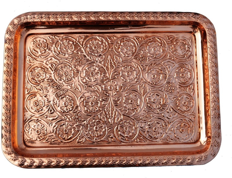 Veda Home & Lifestyle COPPER EMBOSSED SERVING TRAY Tray