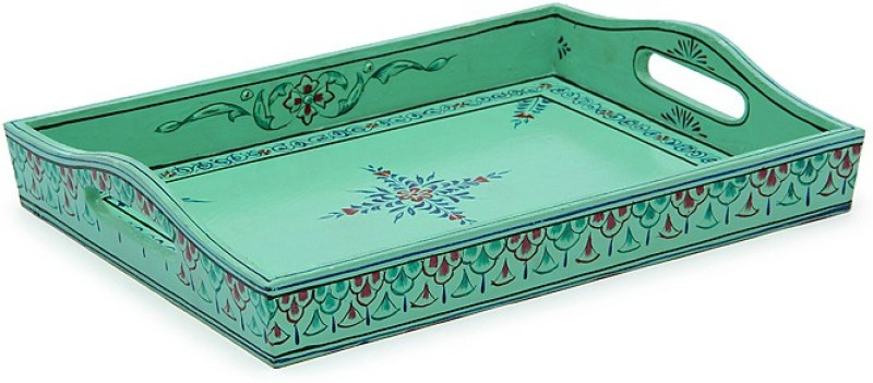 Kaushalam Large Painted: Sea Green Tray