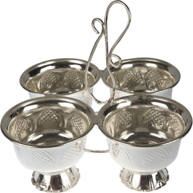 Abhushan Haldi Kumkum Bowl Set Silver Plated Pooja & Thali Set(1 Pieces, Silver)