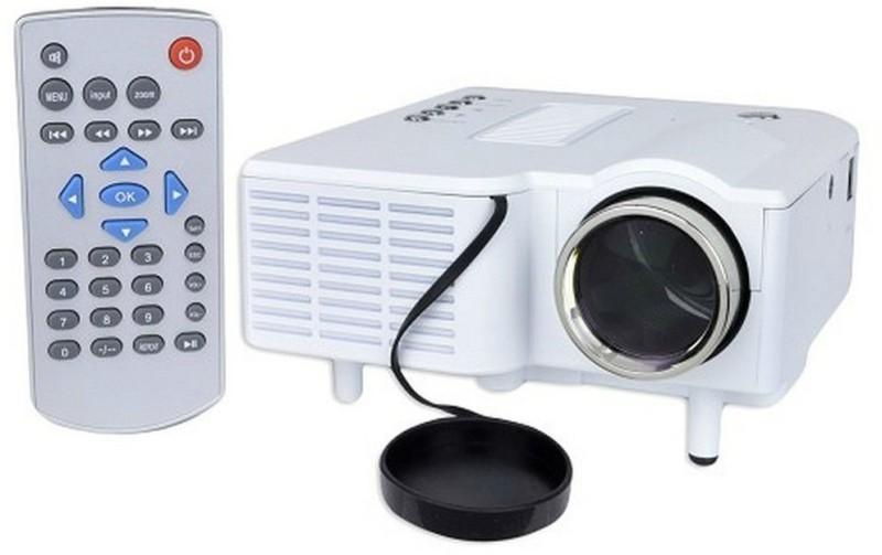 Shrih Mini Multimedia 48 lm LED Corded & Cordless Portable Projector(White) image