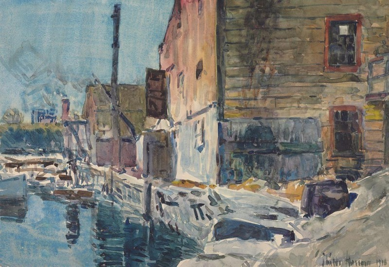 The Museum Outlet The Dock at Noon, 1916 (Medium) Canvas Painting(24 inch x 18 inch)