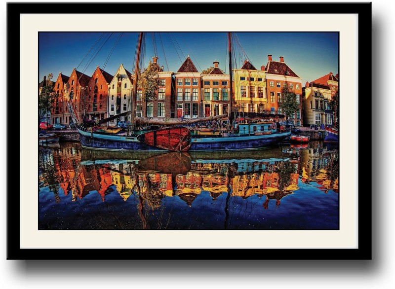 Artifa Boat in Dock Fine Art Print(10 inch X 14 inch, Framed)