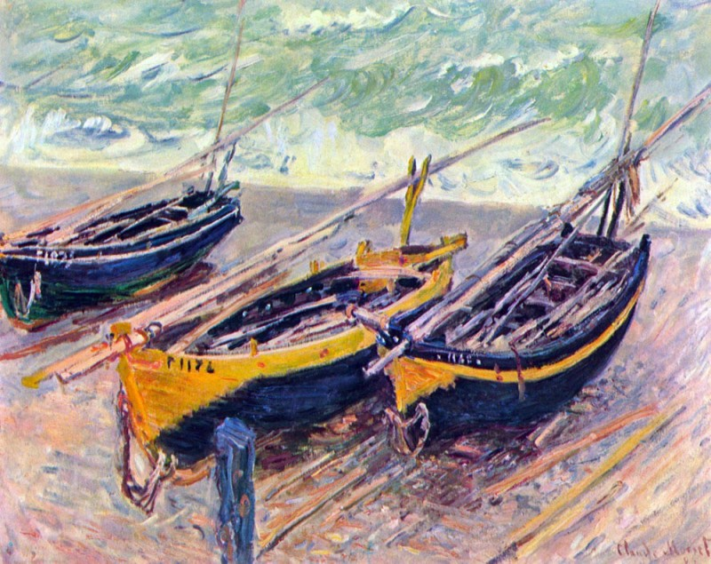 The Museum Outlet Dock of Étretat (three fishing boats) by Monet Print Fine Art Print(18 inch X 24 inch, Rolled)