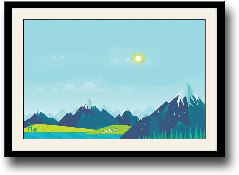 Sun and Mountain digital art Fine Art Print(10 inch X 14 inch, Framed)