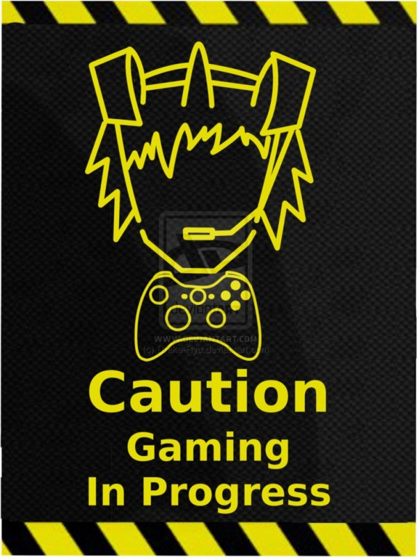 Posterhouzz- Caution - Gaming In Progress Fine Art Print(18 inch X 12 inch, Rolled)