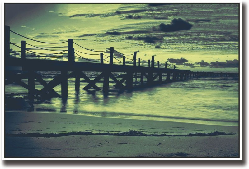 Artifa Beautiful dock and sky Fine Art Print(12 inch X 18 inch, Rolled)