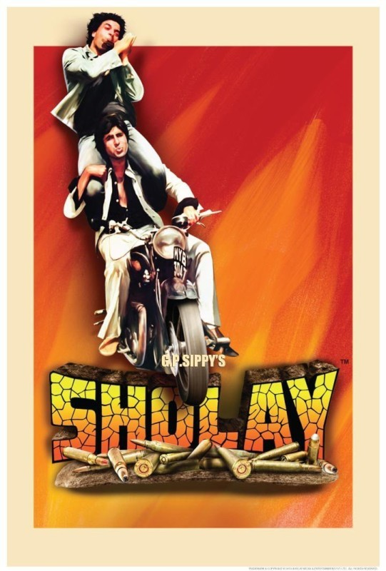Posterhouzz- Sholay Jai And Veeru (Small) Fine Art Print(18 inch X 12 inch, Rolled)