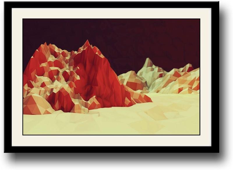 Digital art mountains Fine Art Print(10 inch X 14 inch, Framed)