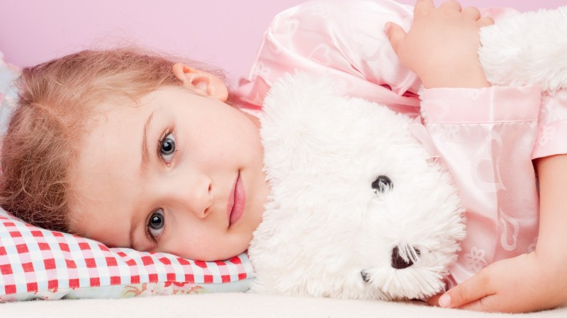 Cute baby girl with teddy Poster Paper Print(12 inch X 18 inch, Rolled)