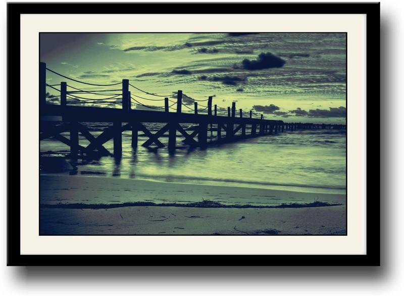 Artifa Beautiful dock and sky Fine Art Print(10 inch X 14 inch, Framed)