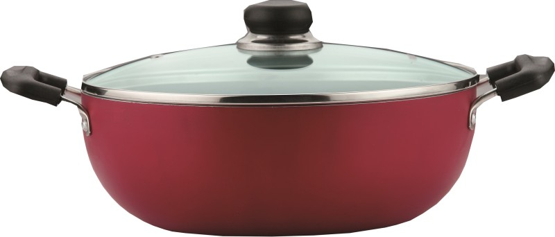 Vinod Zest Non- Stick Friendly with Lid Kadhai 22.0 cm with Lid(Aluminium, Non-stick, Induction Bottom)