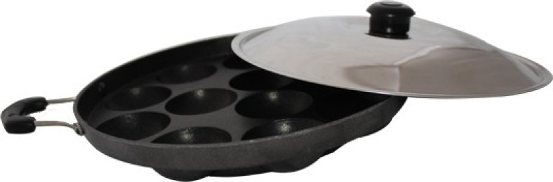 Needhi Appam Patra 12 Cavities Paniyarakkal Set with Lid(Aluminium, Non-stick)