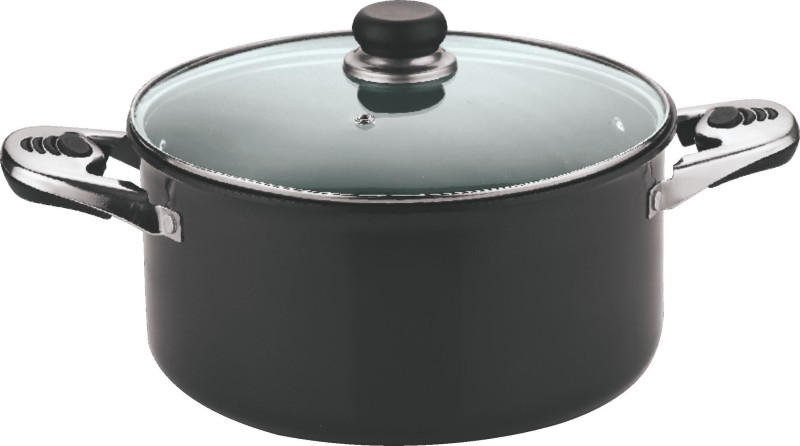 Vinod 28 cm Sauce Pot with Lid Pot 1 L with Lid(Hard Anodised, Non-stick)