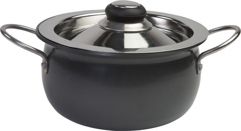 Nirlep Ebony Handi 2.8 L with Lid(Aluminium, Glass)