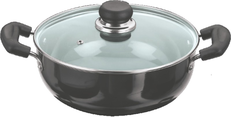Vinod 18 cm Deep Kadhai with Lid Kadhai 0.0 cm(Hard Anodised, Non-stick)