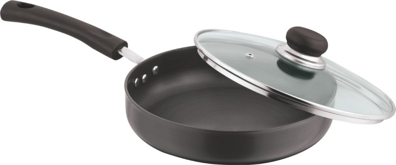 Vinod Hard Anodised Friendly Tasla Fry Pan 24 cm diameter with Lid(Hard Anodised, Non-stick, Induction Bottom)