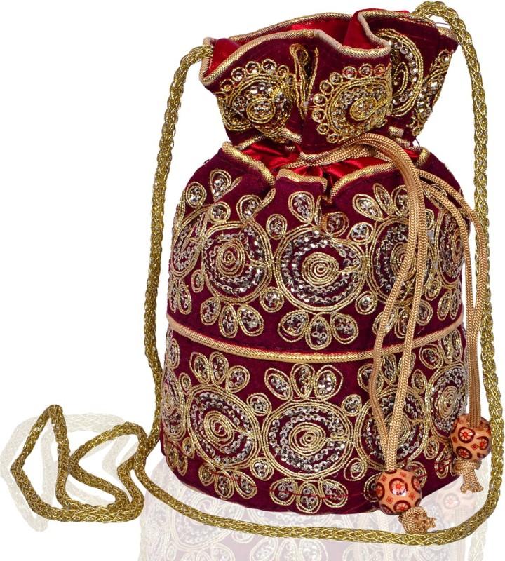 Purpledip Traditional Silk Potli bag for Women,Maroon (10535) Potli(Maroon)