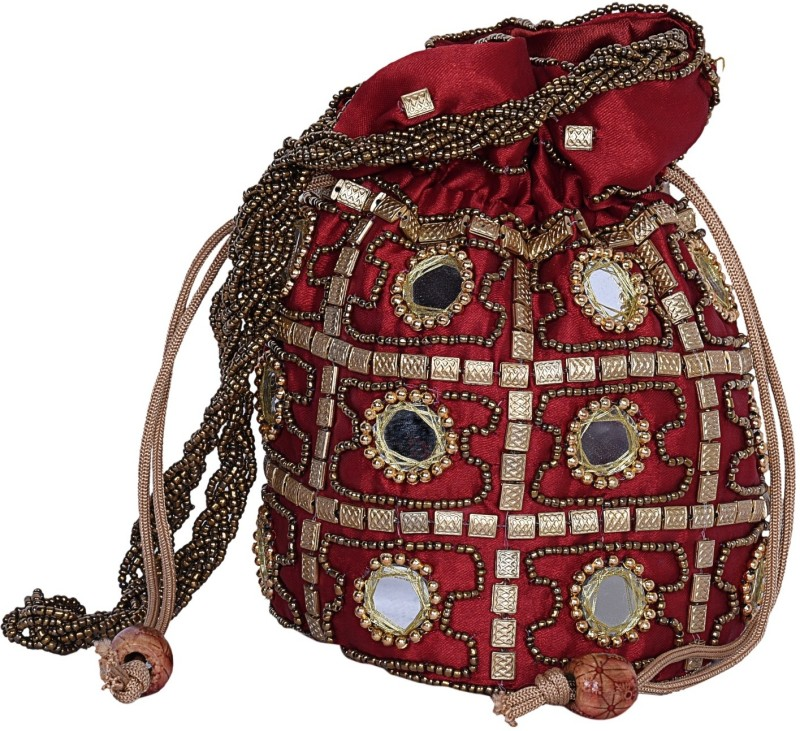 Decot Paradise Indian Fashion Hand work Drawstring Gift Pouch Potli(Red)