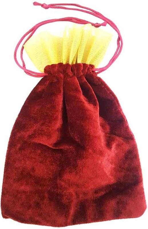 Mehrunnisa Maroon Velvet Tissue Big Size Shagun Potli(Multicolor)