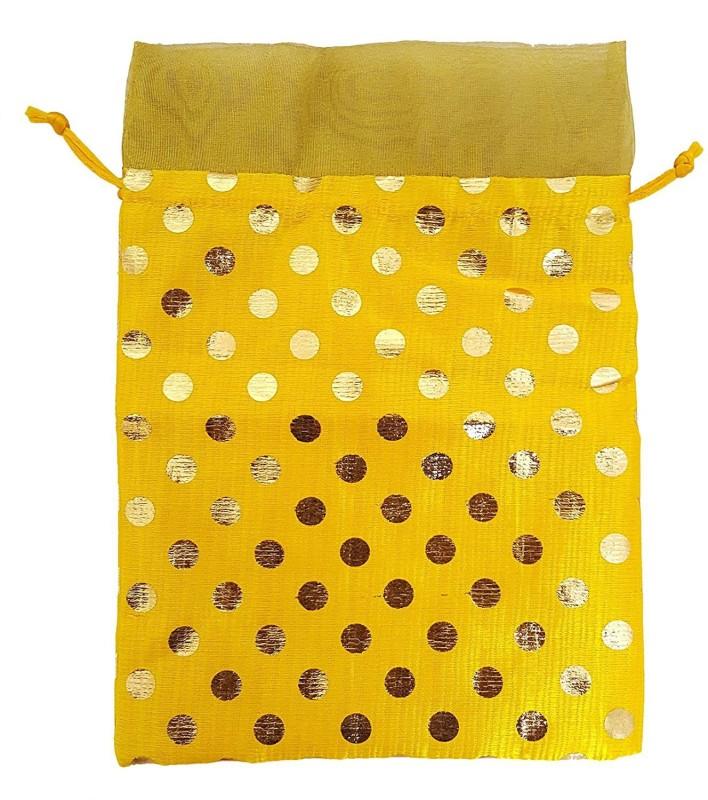 Mehrunnisa Yellow Shagun Potli With Golden Dots Potli(Multicolor)
