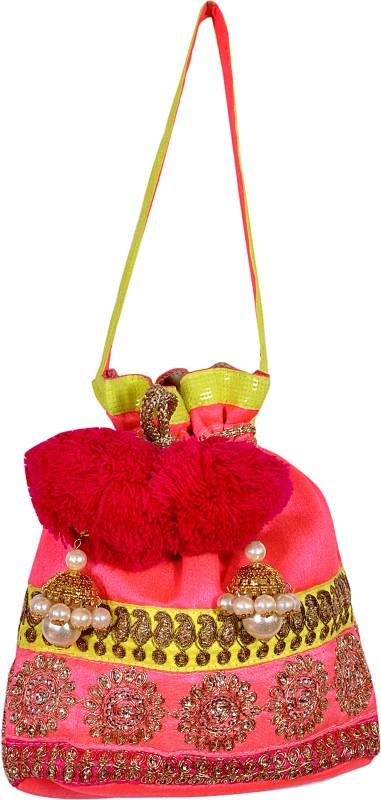 Saaraa Fuschia Pom Pom Potli(Pink)