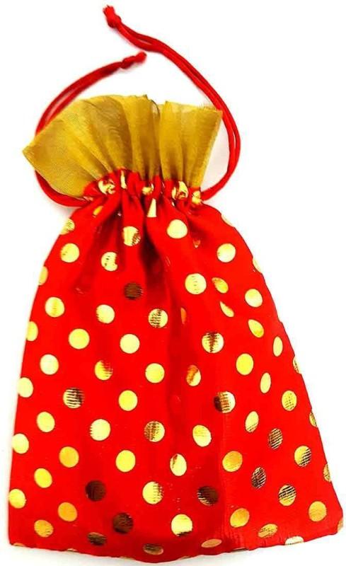 Mehrunnisa Orange Big Size Shagun Potli With Golden Dots Pouch Potli(Multicolor)