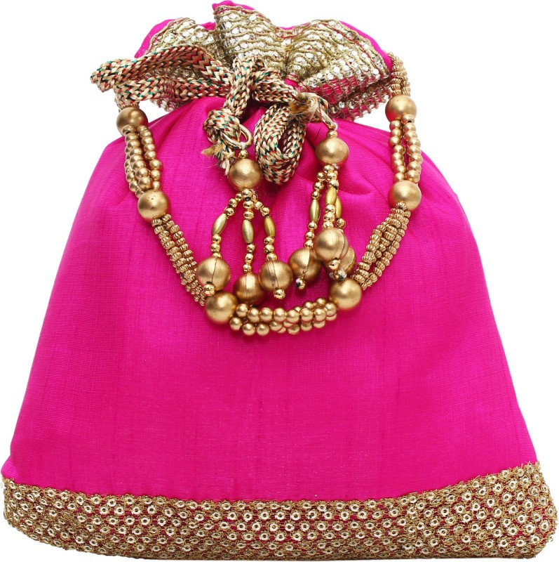 Bagaholics Ethnic Silk Batwa Potli(Pink)