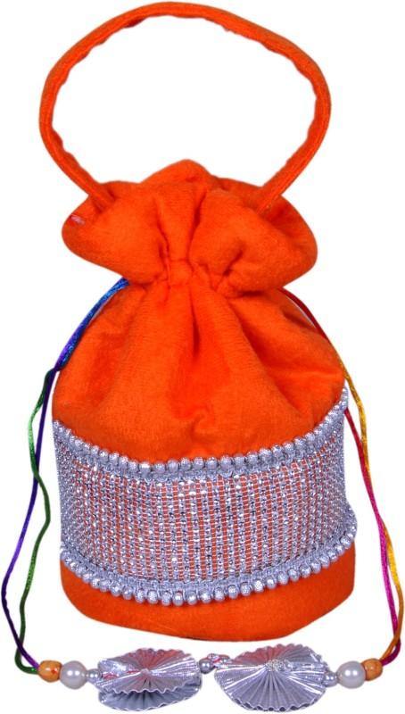 Angelfish potali bag orange shining velvet Potli(Orange)