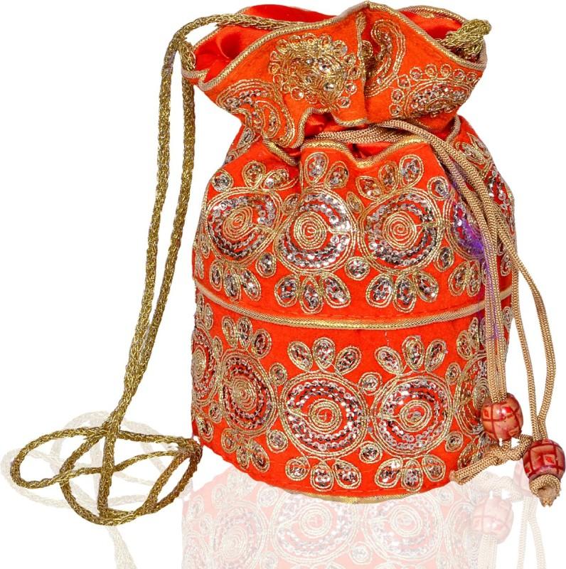 Purpledip Traditional Silk Potli bag for Women,Orange (10533) Potli(Orange)