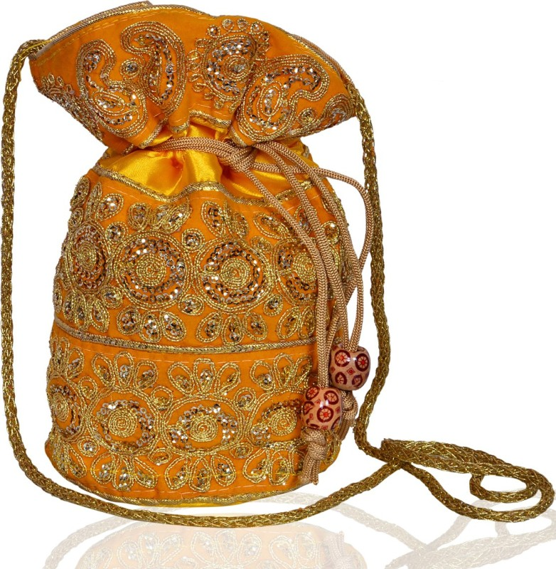 Purpledip Traditional Silk Potli bag for Women,Yellow (10534) Potli(Yellow)