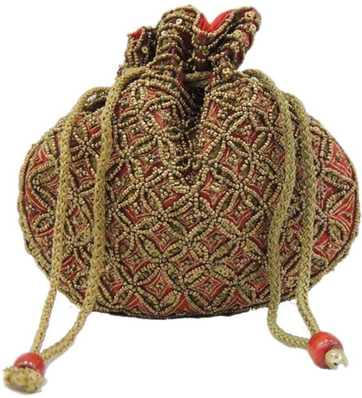 Ruhi's Creations Ethnic 02 Potli(Red, Gold)