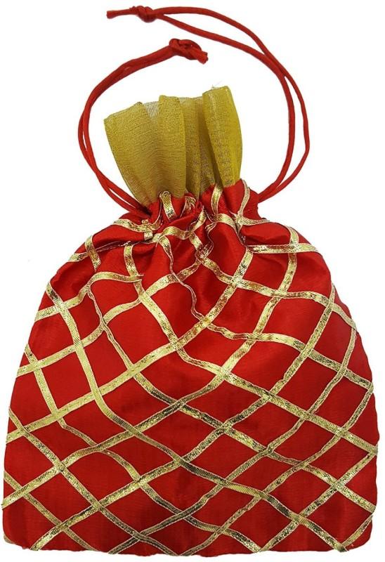 Mehrunnisa Red & Golden Gota Big Size Shagun Potli(Multicolor)