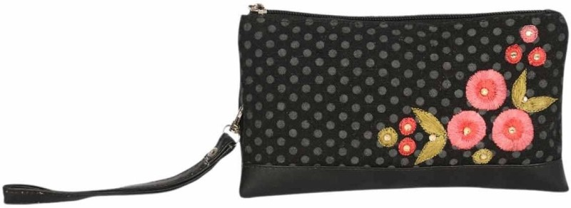 Pick Pocket Poppy Polka Wristlet(Black)