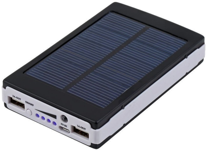 Bluebells India 13000 mAh Power Bank (13000 mAh, Solar Charging 13000 mAh with 20 LED Lights Universal Compatibility for Mobile/Smart Phones, Cameras, Tablets & other similar devices)(Black, Lithium-ion)