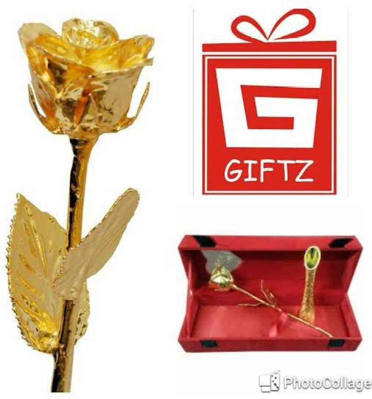 Giftz Valentine Natural Gold 11 Inch Rose With Vase