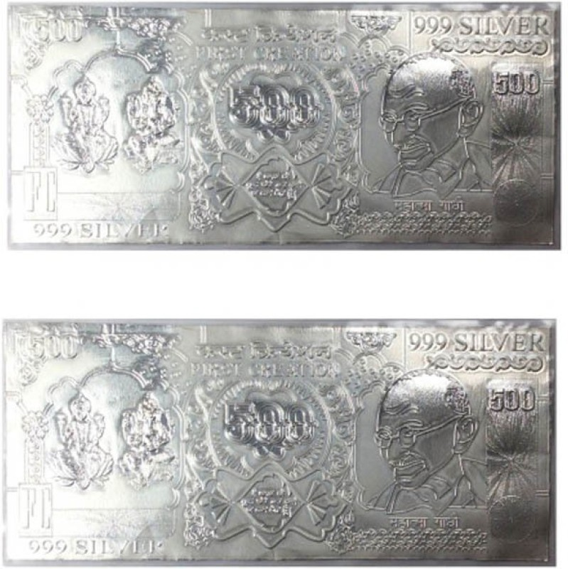 Kataria Jewellers Lakshmi Ganesha & Gandhi 500 Note Silver Currency