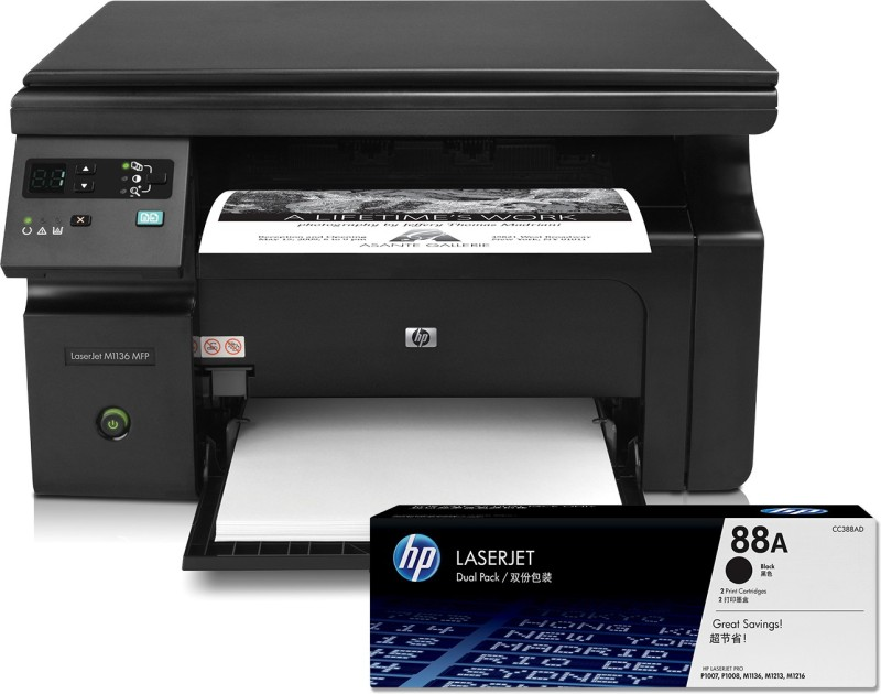 HP LaserJet Pro M1136 MFP Multi-function Monochrome Printer(Black, Toner Cartridge)
