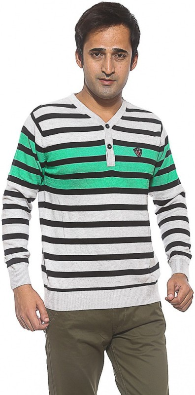 Spykar V-neck Striped Mens Pullover