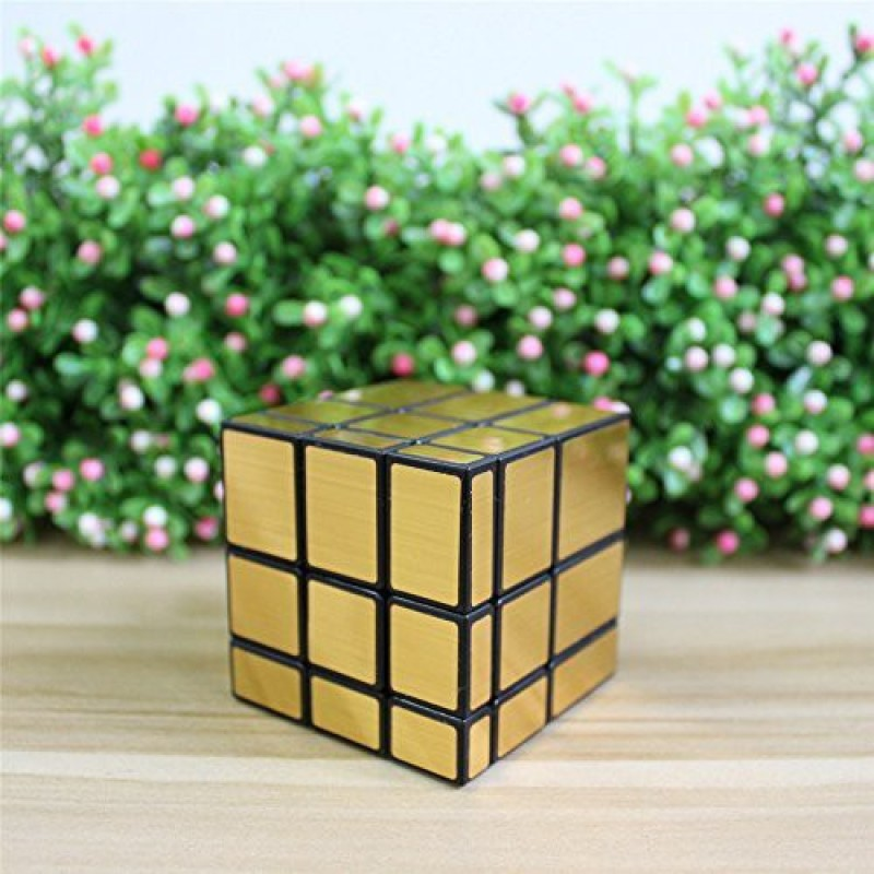 Goodplay Newest Yuxin Ice Kylin 3X3X3 Golden Mirror Block Puzzle Cube Twisted(+One Customized Cube Tripod)(1 Pieces)
