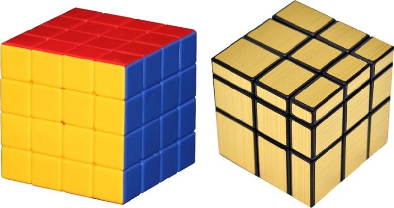 Montez Shengshou Golden Mirror & Stickerless 4x4x4 Rubik Speed Cube - Combo(2 Pieces)