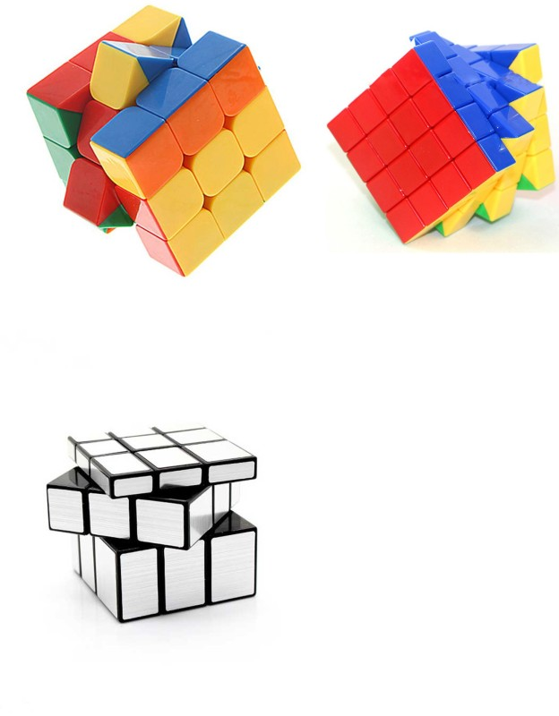 Montez Magic Rubik Cube Puzzle Brainstorming Game [Shengshou Silver Mirror Cube + 3x3 & 4x4) set of 3(3 Pieces)